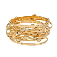 Zinc Alloy Bangle Set, with ABS Plastic Pearl, gold color plated, multi-strand, lead & cadmium free, 72mm, Inner Diameter:Approx 60mm, Length:Approx 7 Inch,china wholesale jewelry beads