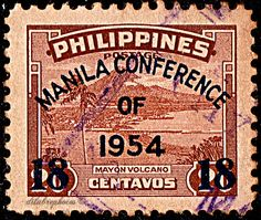 Philippines.  MANILA CONFERENCE.  MAYON VOLCANO.  Scott 614 A82, Issued 1954 Sept 12, Perf. 12, 18 on 20. /ldb.