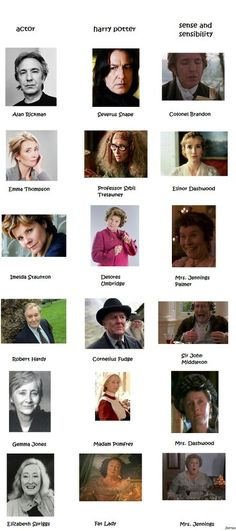 Actors from Harry Potter and Sense and Sensibility...  I will NEVER see Imelda Staunton as anything but Dolores Umbridge...