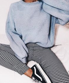Gingham pants vans old soooo sneakers blue knit sweater cozy outfit vans outfit gingham pants outfit womens fashion february fashion outfits with sneakers for high school teenager outfits 20 outfits with vans Simple Outfits For School, Casual School Outfits, Cute Casual Outfits, Winter School Outfits, Cold Weather Outfits For School, Outfit For College, Casual Outfits For Winter, Chic Outfits, Casual Chic