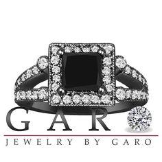 1.82 Carat Vintage Style 14k Black Gold Natural Princess Cut Black & White Diamond Engagement Ring Unique Halo HandMade