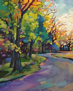 Just Landscape Animal Floral Garden Still Life Paintings by Louisiana Artist Karen Mathison Schmidt: Around the Bend fauve impressionist expressionist colorist landscape oil painting Landscape Art, Landscape Paintings, Art Paintings, Impressionist Landscape, Impressionist Artists, Indian Paintings, Paintings Of Trees, Landscape Rocks, Pastel Landscape