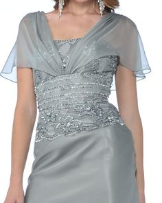 Lace Short Sleeve Silver Long Chiffon Satin Mother of Bride Gown