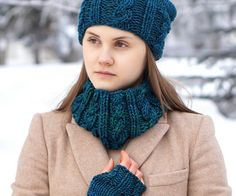 Teal Blue Cable Cowl scarf hand painted by ValerieBaberDesigns