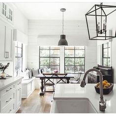 BECKI OWENS--Colors of the Modern Farmhouse + Paint Guide. Beautiful white Farmhouse kitchen.