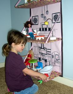 Diy for kids ~ Store away Doll House e-pattern. Fold up and store away when not using.. via Etsy.
