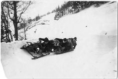 Hemingway on a bobsled?! Why not! Ernest Hemingway (far right) and four unidentified men ride a bobsled on the Sonloup trail during a race in Les Avants, Montreux, Switzerland, ca. January 1923.