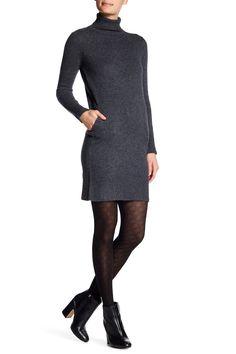 Long Sleeve Turtleneck Cashmere Dress