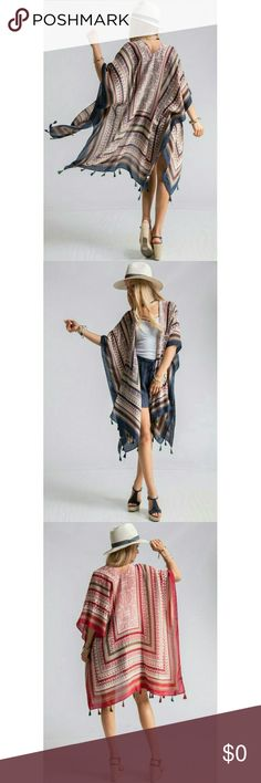 "Aztec Shrug Aztez print Shrug with Tassel trim. 100% polyester       38"" x71"". Navy multi. Right on trend friends!! AND YES there are holes for your arms! Stock photo used with permission. 🐶🚭 Fashionomics Sweaters Shrugs & Ponchos"