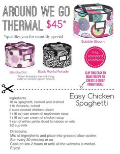 Thirty-one Around We Go Thermal with recipe Easy Chicken Spaghetti Thirty One Uses, My Thirty One, Thirty One Gifts, Easy Chicken Spaghetti, Thirty One Consultant, Independent Consultant, 31 Gifts, Create A Recipe, Easy Chicken Recipes