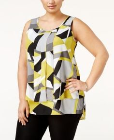 Alfani Plus Size Pleated High-Low Shell, Only at Macy's - Retro Abstract Lime 20W