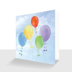 A luxury art print card titled Balloons designed by artist Kay Burton, from the Up in the Sky collection. A skyscape with five colourful balloons flying in the wind, in the summer sky. Balloon Painting, Sky Painting, 30th Birthday Cards, Colourful Balloons, The Balloon, Funny Cards, Watercolor Cards, Blank Cards, Greeting Cards