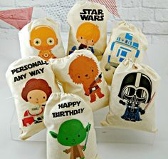 Star Wars favor bags- ez iron-ons on plain white draw string bags.