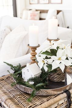 Seasonal Simplicity Christmas Living Room | blesserhouse.com - A tour of a neutral Christmas living room with simple, natural decor, mercury glass, and a modern rustic vibe. #christmaslivingroom #neutralchristmas #christmasdecor