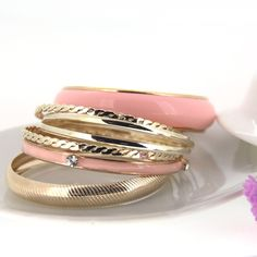 Classic Shiny Multilayer Charm Pink Bracelets for Women