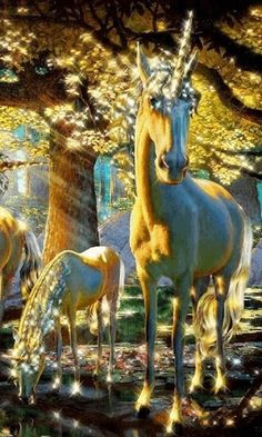 golden unicorns in the forest
