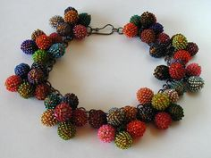 Grapes necklace: oxidized silver, glass beads, cotton thread, 18cm dia. 2006