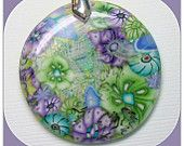 Lavender Pendant Faux Dichroic, polymer clay Jewelry. $14.00, via Etsy.