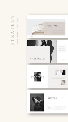 Strategy Presentation Template is a simple presentation to show your project & ideas. This is the right business portfolio presentation for everyone who wants Ppt Design, Brochure Design, Book Design, Branding Design, Mise En Page Portfolio, Portfolio Layout, Portfolio Design, Portfolio Presentation, Presentation Layout