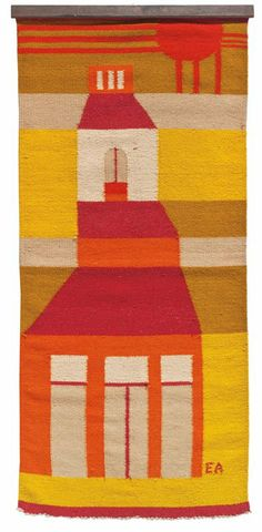 Evelyn Ackerman; Hand-Woven Wool 'Bell Tower' Tapestry for ERA Industries, c1969.