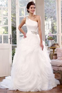 one shoulder wedding dress Needs more stones but I love the skirt