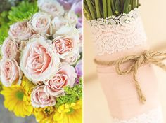 Wedding Bouquet: Blush Roses+Sunny Floral by Andi Mans(ribbon and lace wrap)