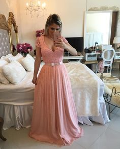Pink Long Prom Dress - Beads Cap Sleeves sold by modsele. Shop more products from modsele on Storenvy, the home of independent small businesses all over the world. Short Sleeve Prom Dresses, Prom Dresses Long Pink, Tulle Prom Dress, Evening Dresses, Girls Dresses, Formal Dresses, Dress Long, Prom Long, Pink Dress