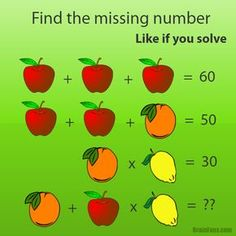 Oh!! Apples are 20, oranges are 10, lemons are 3, so orange plus apple times lemon.. of course, PEMDAS states i must first multiply so 60+10 is 70