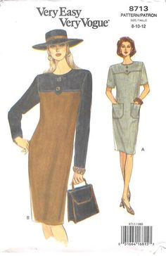 Loose-fitting, tapered dress, below mid-knee, has extended shoulders, shoulder pads, self or contrast yokes with button trim, back zipper and hemline slit and above elbow or contrast long sleeves. A: