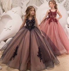 Ball Gown Flower Girl Dresses For Weddings Vestidos Daminha 18 Kids Evening Pageant Gowns First Communion Dresses For Girls Pink Flower Girl Dresses, Little Girl Dresses, Lace Flower Girls, Pageant Dresses, Quinceanera Dresses, Gowns For Girls, Girls Dresses, Formal Dresses, Kids Gown