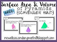 FREE Surface Area and Volume of Pyramids Scavenger Hunt Activity