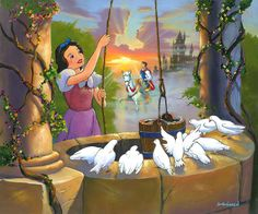 Snow White and the Seven Dwarfs - Wishing for My Prince. Jim Warren. Limited Edition of 195 Canvases. Numbered and Signed by Artist. Giclee on Canvas. | eBay!