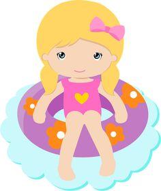 ●‿✿⁀ Girls ‿✿⁀● Kawaii Cross Stitch, Summer Clipart, Clip Art, Cute Clipart, Splish Splash, Little People, Cute Stickers, Diy For Kids, Party Themes