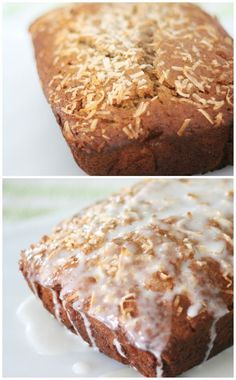 Make this delicious coconut banana bread recipe with tasty lemon glaze ...