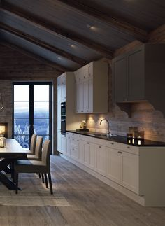 38 Best Ideas For Home Modern Rustic Log Cabins Cabin Homes, Log Homes, Chalet Interior, Refacing Kitchen Cabinets, White Cabinets, Cabins And Cottages, Log Cabins, Cottage Design, Cabin Interiors