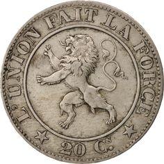 Belgium, Leopold I, 20 Centimes, 1861, EF(40-45), Copper-nickel, KM:20