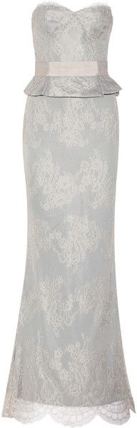 Notte By Marchesa Lace Peplum Gown in Pink | Lyst