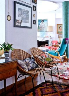 Margherita Missoni's Milan apartment  VIA  fun chairs and vibrant colors