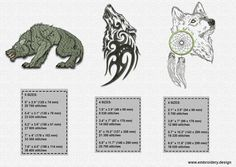 Tribal wolves PACK of embroidery design collection of by EmbroSoft