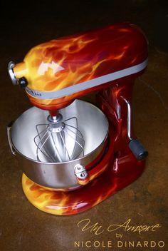 "Custom Painted ""KBC Apple Red / True Fire"" KitchenAid Mixer"