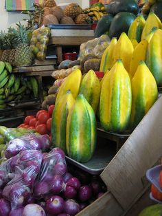 Babaco :) Native to the Andes. It looks like a starfruit/papaya. I saw it at the market today
