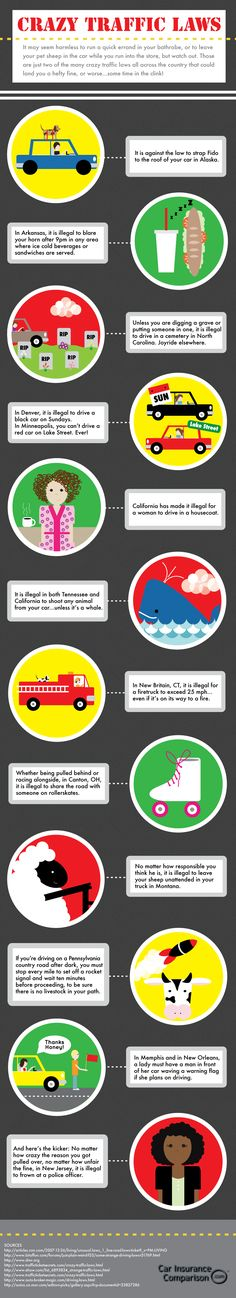 Crazy Traffic Laws. #crazy #laws #infographic #drivedana #statenisland #newyork #nyc