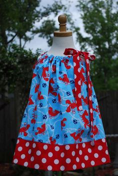 Lobsters dots and anchors away dress #JoesCrabShack #JoesMaineEvent