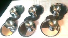 Art Deco Chase Chrome Canape Cocktail Trays Cups Lurelle Guild Snack Set #ArtDeco #Chase