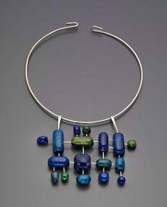 Necklace |  Elsa Freund.  c 1960.  Silver, glass, terracotta.