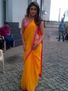 Kareena Kapoor in Orange Saree at Indian Idol B-128