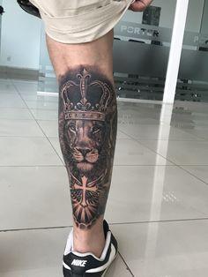 Lion Tattoo Sleeves, Mens Lion Tattoo, Calf Tattoo, Best Sleeve Tattoos, Forearm Tattoo Men, Family Tattoo Designs, Lion Tattoo Design, Tattoo Designs Men, Leo Tattoos