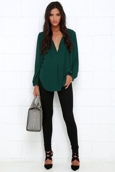 d61f284a9cb73 That Certain Something Dark Green Top. Green Blouse OutfitGreen Shirt  OutfitsGreen ...