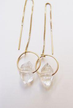 Herkimer Diamond Gold Chain Earrings by friedasophie on Etsy https://www.etsy.com/listing/236291176/herkimer-diamond-gold-chain-earrings