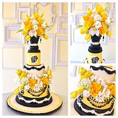 Colorful Yellow & Black Flower Cake